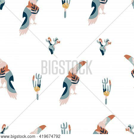 Abstract Seamless Pattern With Colorful Toucans And Cacti