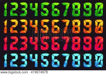 Numbers Set In Alarm Clock Style. Digital Font In Four Color Schemes For Futuristic Company Identity