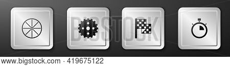 Set Bicycle Wheel, Sprocket Crank, Checkered Flag And Stopwatch Icon. Silver Square Button. Vector