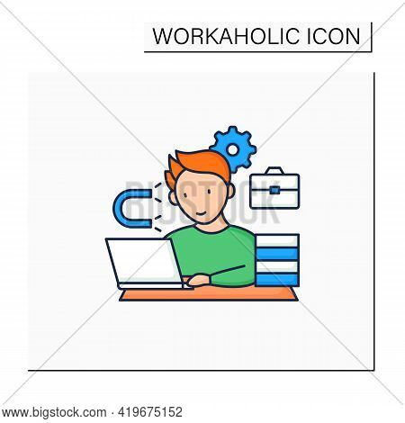 Workaholic Color Icon. Inability Detach From Work. Hard Working. Work Love Concept.isolated Vector I