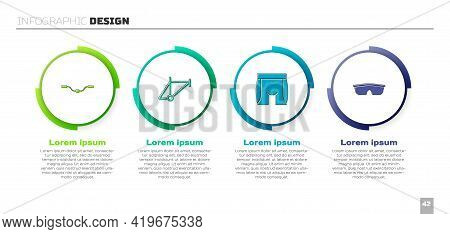 Set Bicycle Handlebar, Frame, Cycling Shorts And Sport Cycling Sunglasses. Business Infographic Temp