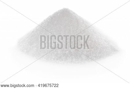 Pile Of Granulated Sugar On White Background