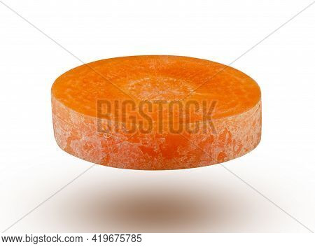 Round Slice Of Carrot Isolated On White Background. High Resolution And Full Depth Of Field.