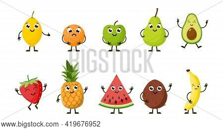 Cartoon Funny Fruits. Happy Lemon, Orange, Apple, Pear, Avocado, Strawberry, Pineapple, Watermelon,
