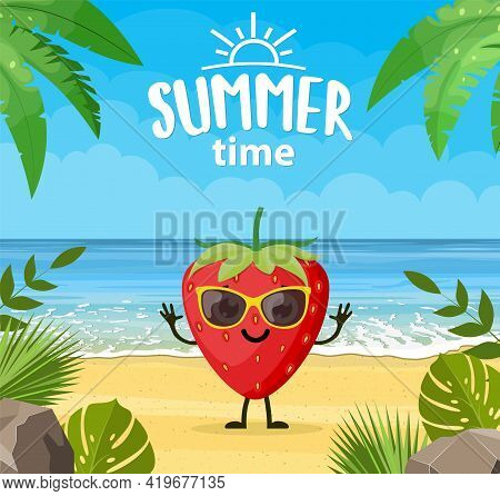 Funny Summer Banner With Fruit Characters. Tropical Beach. Summer Landscape. Cartoon Strawberry Char