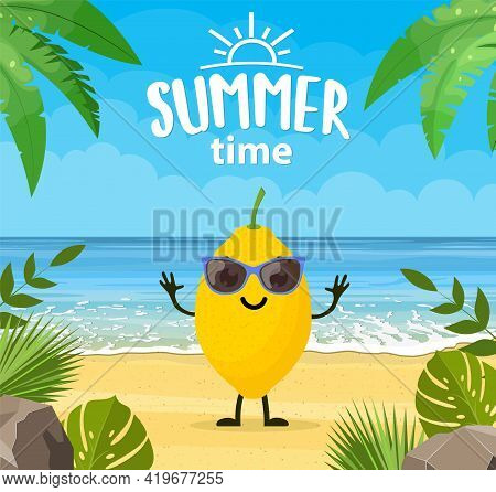 Funny Summer Banner With Fruit Characters. Tropical Beach. Summer Landscape. Cartoon Lemon Character