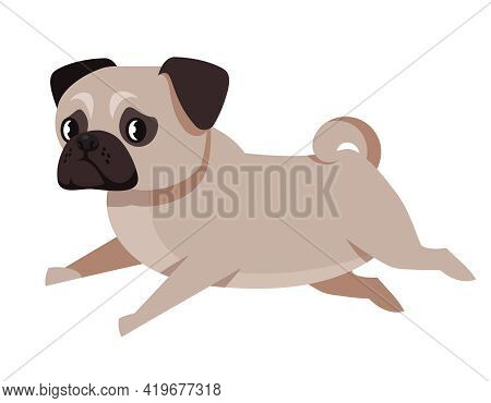 Running Pug Side View. Cute Pet In Cartoon Style.