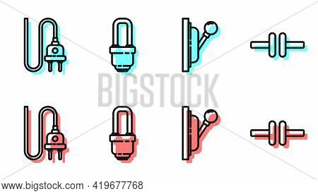 Set Line Electrical Panel, Electric Plug, Led Light Bulb And Electric Circuit Scheme Icon. Vector