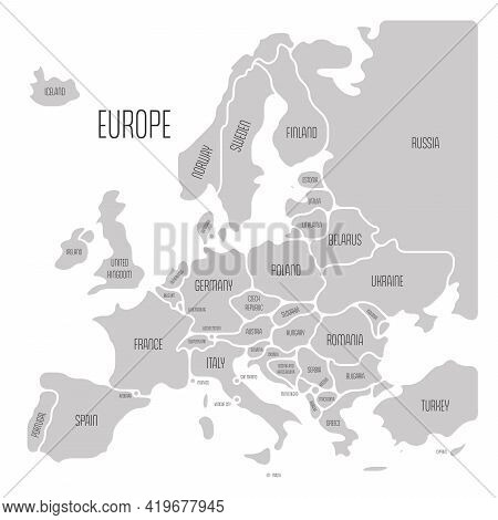Simplified Map Of Europe. Rounded Shapes Of States With Smoothed Border. Grey Simple Flat Vector Map