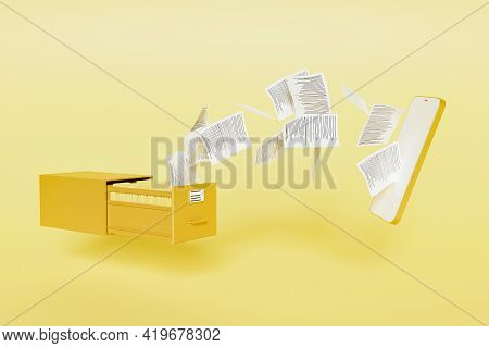 File Cabinet Full Of Folders With Papers Flying To A Modern Mobile Phone Mockup. Digital Storage Con