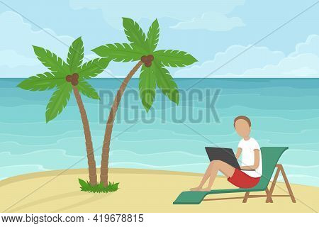Freelancer Sitting In Lounger Under Coconut Trees And Working On Laptop. Vector Illustration.