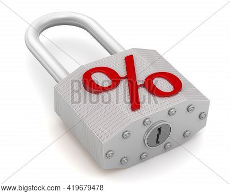 Fixed Rate. Labeled Padlock. Padlock With A Red Symbol Of Percent. Financial Concept. Isolated. 3d I