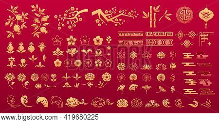 Asian Traditional Decorative Elements In Gold Color. Chinese And Japanese Oriental Ornaments And Pat