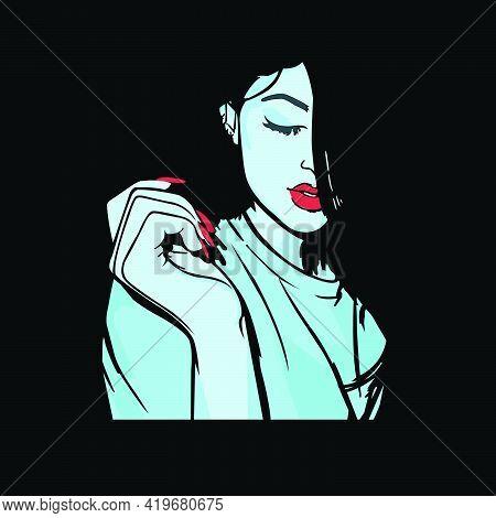 A Nice Girl Vector In Dark Background