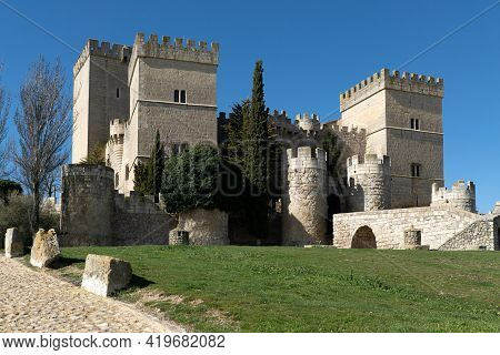 Ampudia, Spain - February 23, 2021: Medieval Castle Of Ampudia In A Sunny Day, Palencia, Castilla Y