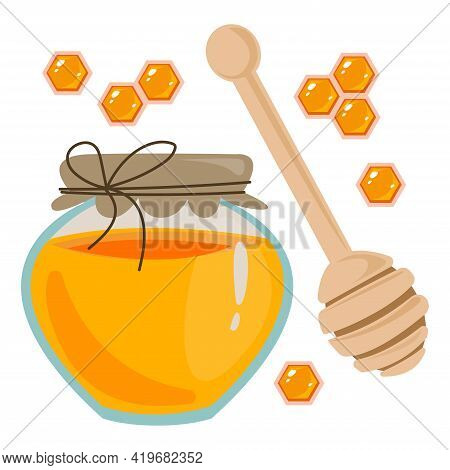 A Jar Of Honey, Honeycomb And A Wooden Spoon For Laying Close-up. Clipart Set Of Sweets. Vector Illu
