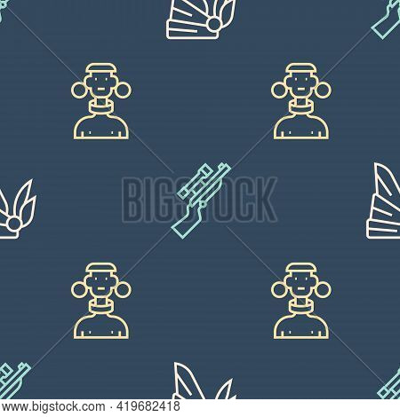 Set Line Bandana Or Biker Scarf, African Tribe Male And Sniper Rifle With Scope On Seamless Pattern.
