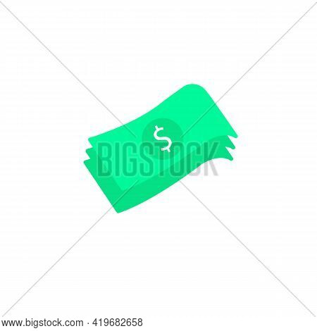 Color Stacks Paper Money Cash Line Icon Isolated. Money Banknotes Stacks. Banknote Illustration Busi