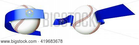 Baseball Sport Ball In Ribbons With Colors Of American State Of Nevada. Design Element For Sport Com