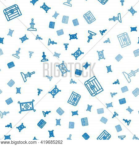 Set Line Magic Carpet, Antique Treasure Chest And Sword In The Stone On Seamless Pattern. Vector