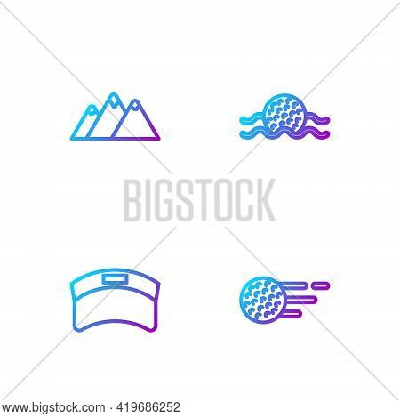 Set Line Golf Ball, Sun Visor Cap, Mountains And Water. Gradient Color Icons. Vector