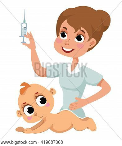 Vaccination Of Newborn Babies During The Covid-19 Coronavirus Pandemic. The Nurse Injects The Baby W