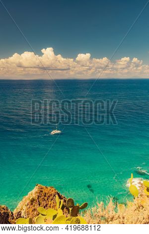 Rock cliff of cape Capo Vaticano, Tyrrhenian Sea, Calabria, Southern Italy