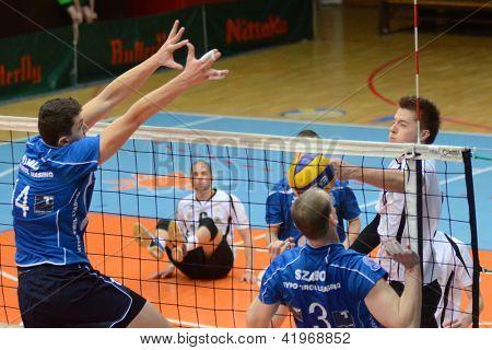 KAPOSVAR, Hongrie - 1 février : Roland Gergye (R) en action à un milieu Ligue européenne de volley-ball g