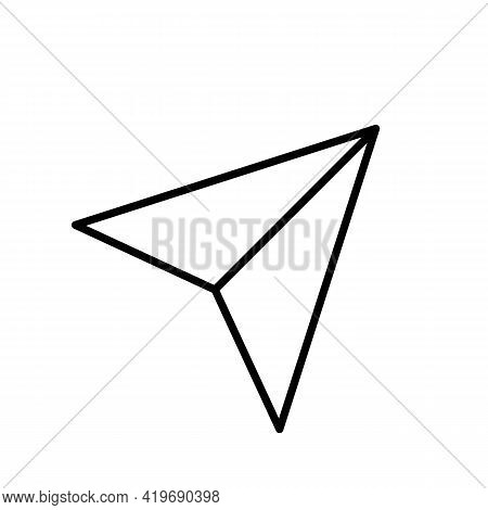 Paper Airplane. Messenger Line Icon In Black. Fast Send Mail Concept. Trendy Flat Style Isolated Sym