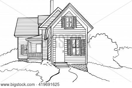 Vector Illustration In Doodle Style. Hand Drawing. A Rustic Cottage With A Porch And Shutters On The