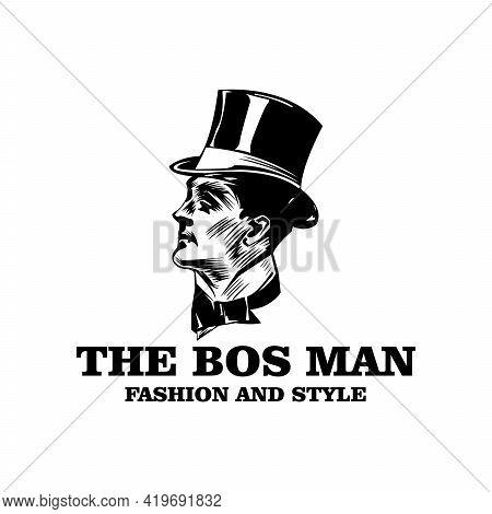 Vintage Gentleman Logo Design Vector. People Design Logo Vector