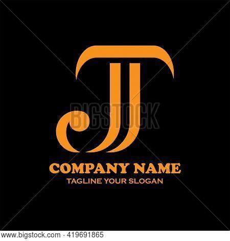 J T Design Logo Vector. J T Letter Logo Business