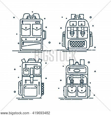 Four Rucksack Or Schoolbags With Pockets And Zipper Element. Education Backpack For Students And Tra