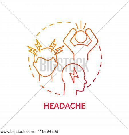Headache Concept Icon. Air Pollution Disease Symptom Idea Thin Line Illustration. Recurrent Headache