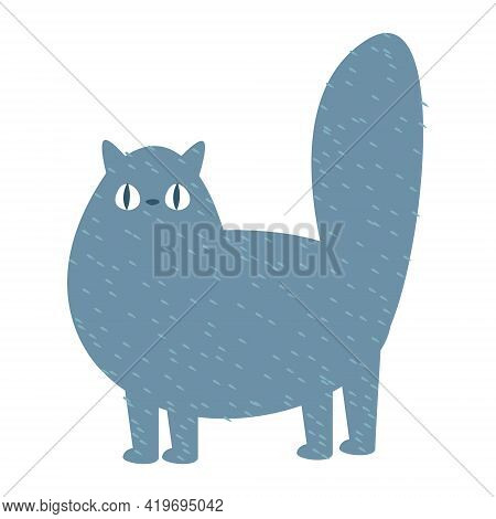 Funny Cartoon Flat Gray Cat. Vector Illustration In Cartoon Childish Style. Isolated Funny Clipart O