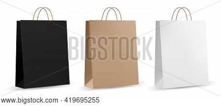 Paper Bag Template. Brown Realistic Paper Bag. Front And Side View Of Retail Purchase Packaging - Bl