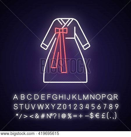 Hanbok Neon Light Icon. National Asian Clothing. Oriental Dress For Women. Eastern Outfit. Outer Glo