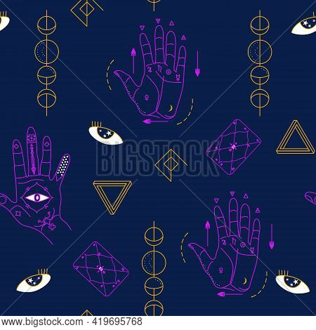Seamless Pattern With Palmistry.hand With Lines Of Energy For Personal Horoscope.jyotisha Or Hindu A