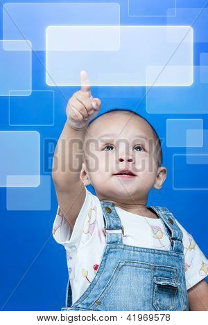 Child Raises Up Forefinger With Press Button