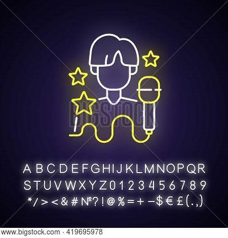 K Pop Neon Light Icon. Musician Performance. Popular Singer. Pop Artist. Korean Culture. Outer Glowi