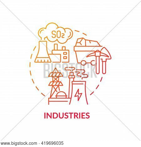 Industries Concept Icon. Outdoor Air Pollutant Idea Thin Line Illustration. Industrial Pollution. Un