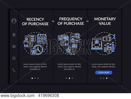 Rfm Model Examination Onboarding Vector Template. Responsive Mobile Website With Icons. Web Page Wal
