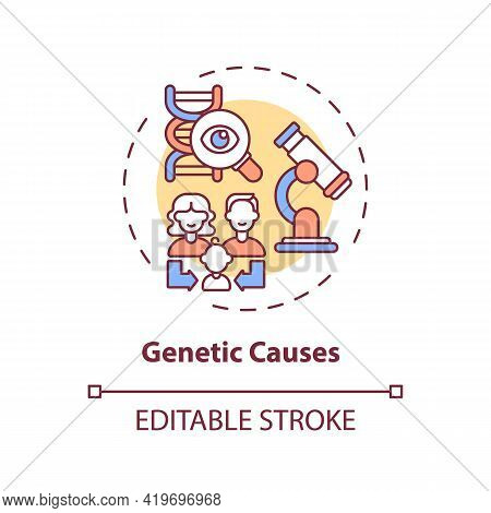 Genetic Causes Concept Icon. Hearing Loss Idea Thin Line Illustration. Inherited Deafness. Mutations