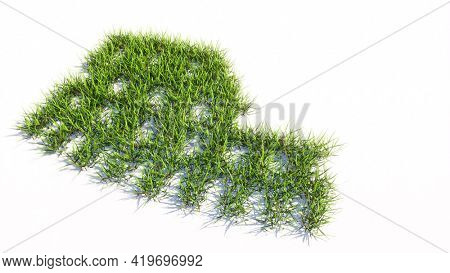 Concept or conceptual green summer lawn grass symbol shape isolated white background, colloseum icon. 3d illustration metaphor for travel, history and culture, tourism and vacation