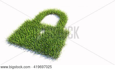 Concept or conceptual green summer lawn grass symbol shape isolated white background, padlock icon. 3d illustration metaphor for communication, encryption, security, privacy and technology