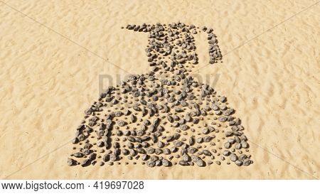 Concept conceptual stones on beach sand handmade symbol shape, golden sandy background, graduate student sign. A 3d illustration metaphor for academic achievement, success, future professional carrer
