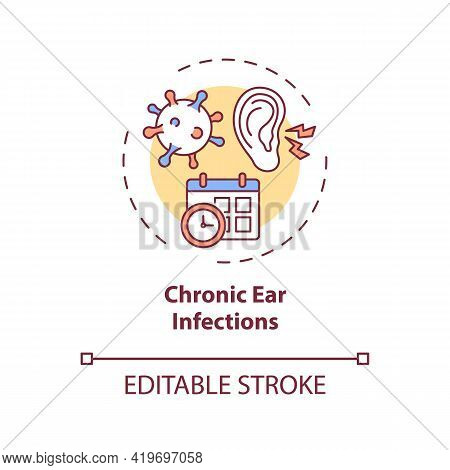 Chronic Ear Infections Concept Icon. Hearing Loss Cause Idea Thin Line Illustration. Affecting Audit