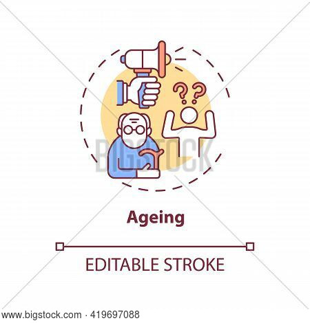 Ageing Concept Icon. Hearing Loss Cause Idea Thin Line Illustration. Age-related Deafness. Gradual C