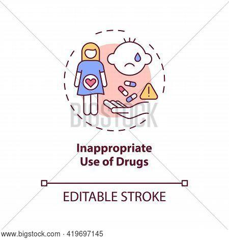 Inappropriate Drugs Use Concept Icon. Congenital Hearing Loss Cause Idea Thin Line Illustration. Dru