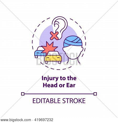 Injury To Head And Ear Concept Icon. Acquired Hearing Loss Cause Idea Thin Line Illustration. Trauma